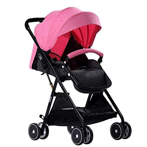 Yankuoo 3-in-1 reissysteem kinderwagen, multifunctionele draagbare opvouwbare kinderstoel, wieg, vier schokdempers, voetkussens en regenhoes (aan boord mogelijk) roze