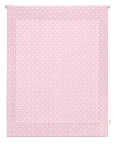Blindecor - Estor Enrollable, Tela , Rosa con motas blancas, 130 x 180 cm