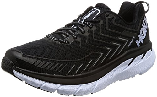 HOKA ONE ONE Men's Clifton 4 Running Shoe Black/White Size 9.5 M US