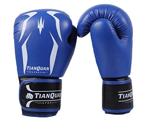 BLANCHO BEDDING 10 oz Adulte de Boxe MMA Gants Punching Mitts de Formation pour Muay Thai Kickboxing, Bleu