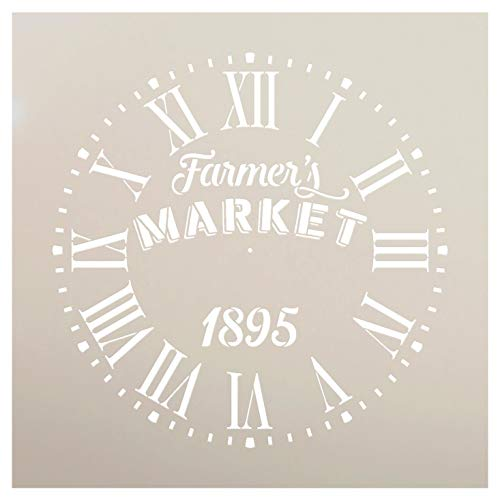 Round Clock Stencil Roman Numerals - Farmers Market Letters - DIY Painting Vintage Rustic Farmhouse Country Home Decor Walls - Select Size (18')