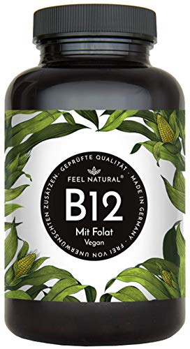 Vitamin B12-180 Tabletten im Jahresvorrat. Mit bioaktivem Methyl- und Adenosylcobalamin + Depotform Hydroxocobalamin + Quatrefolic® 5-MTHF. Laborgeprüft, vegan, in Deutschland produziert