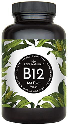 Vitamin B12-180 Tabletten (1 Jahr) mit je 1000mcg. Mit bioaktivem Methyl- und Adenosylcobalamin + Depotform Hydroxocobalamin + Quatrefolic® 5-MTHF. Laborgeprüft, vegan, hergestellt in Deutschland