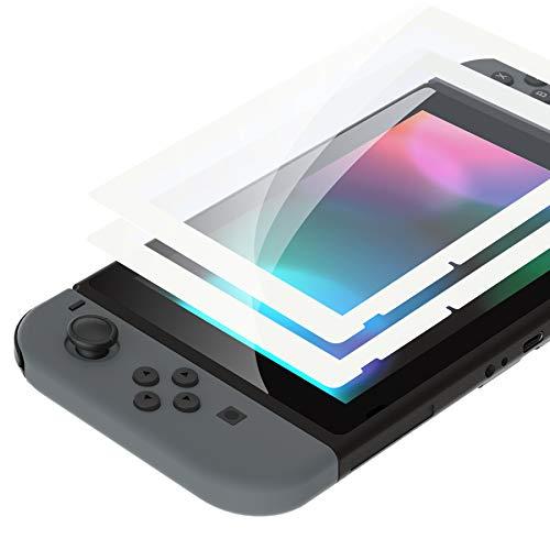 eXtremeRate 2 Pellicola Protettiva per Nintendo Switch,Vetro Temperato Protezione Schermo Bianco Bordo Trasparente HD Chiaro (AntiGraffio,Anti-Impronta Digitale,Infrangibile,Senza Bolle)