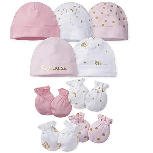 Gerber Baby Girls 8 9-Piece Cap and Mitten Sets, 9pc Princess Arriva, Newborn