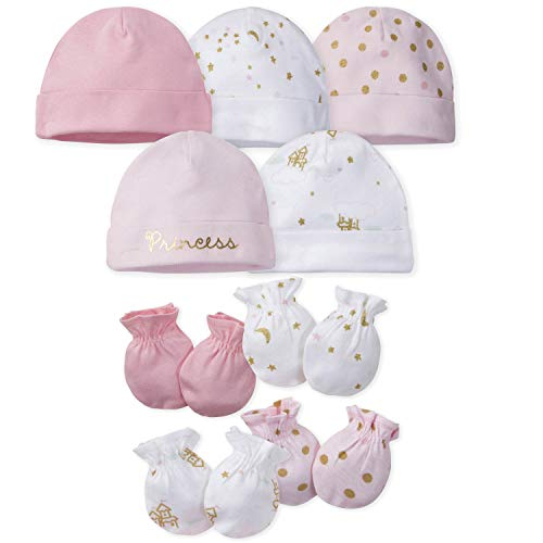 Gerber Baby Girls 9-Piece Cap and Mitten Bundle, Princess Arrival, Newborn