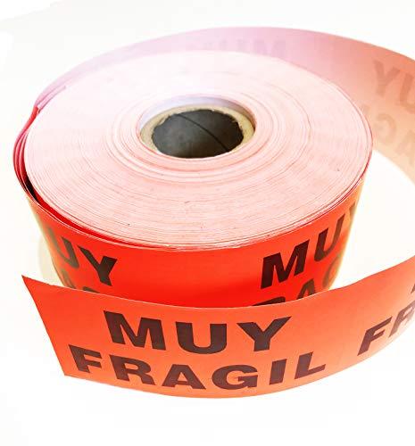 MUY FRAGIL ETIQUETA ADHESIVA ROLLO DE 1000 UNIDADES (+-110X58mm) PEGATINAS MUY FRAGIL TO2TOCKS