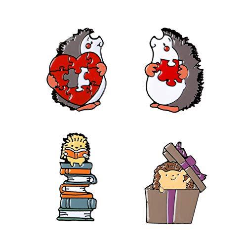 4 Stuks Enamel Pin Set Cartoon Revers Broche Badge Leuke Egel Van De Cartoon Pin Voor Kleding Backpack Decoratie En Kerstmis in De Buurt Van De Gift