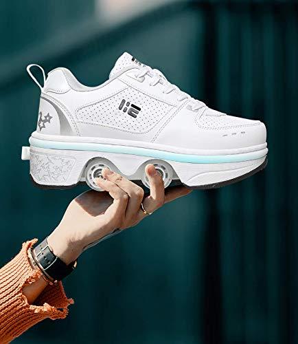 DHTOMC Zapatos con Ruedas Zapatillas con 4 Ruedas para Niños Y Niña Deformación Zapatillascon Ruedas Se Puede Bambas con Ruedas Automática Calzado De Skateboarding,EUR36