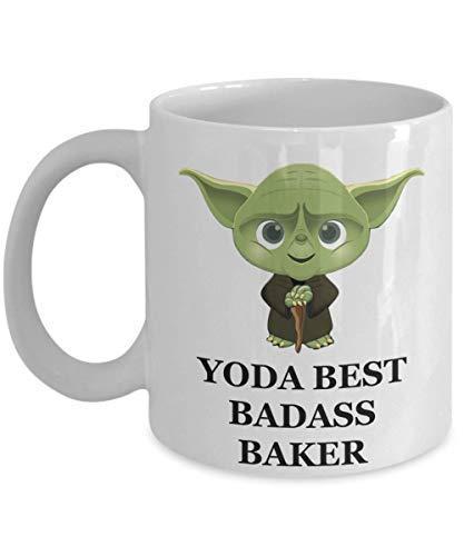 N\A YodaBest Badass Baker Mug - Regali di Festa di Natale di Compleanno per Il Personale dipendente Marito Moglie Uomini Donne Lui Suo caffè Jedi Star Wars Personalizzato