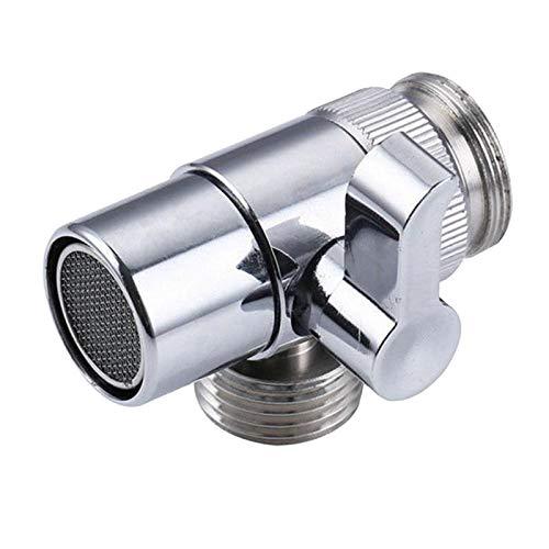 1pc 3 vía Metal T-Adapter con la válvula de Cierre Conector Sólido Brass Brazo de Ducha Válvula de desvío (Color : Silver)