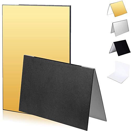 Selens 3-in-1 Reflektor für Fotografie, 29,7 x 42 cm, faltbar, dicker Karton, Beleuchtung für Natur, Produkt, Studio, Fotografie, Schwarz/Gold/Weiß/Silber, 2 Stück