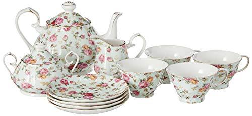 Gracie China by Coastline Imports Blue Cottage Rose Chintz 11-Piece Tea Set - TS-33701BL/11