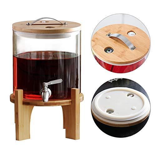 HyxqyJP Hogetemperatuurbestendige glazen enzym-emmer, dranktoevoer met standaard en tap, wekglas glazen kan in vintage design (thermometer/ontluchtingsventiel)
