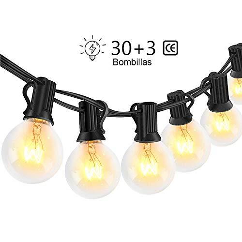 Guirnaldas luminosas de exterior,LECLSTAR G40 Cadena de Luces 10m con 30+3(Bombilla de...