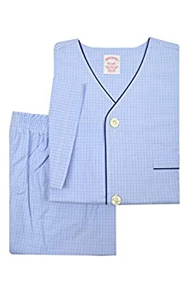 Brooks Brothers Mens 89848 All Cotton Short Sleeve Button Down Pajama Shirt and Shorts Set Light Blue Plaid (M) by