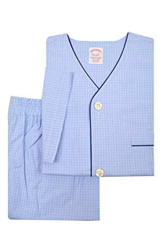 Brooks Brothers Mens 89848 All Cotton Short Sleeve Button Down Pajama Shirt and Shorts Set Light Blue Plaid (XXL)