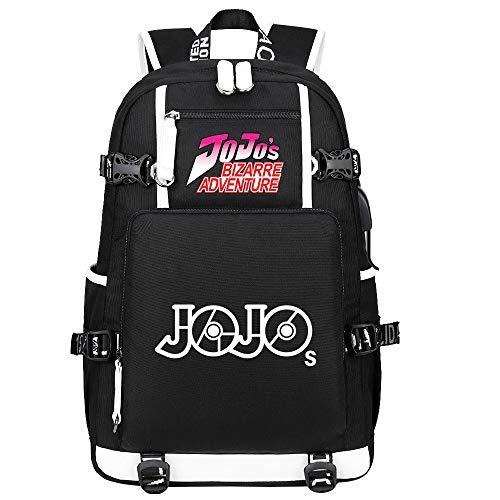 GOYING JoJo's Bizarre Adventure Jonathan Joestar/Joseph·Joestar Anime Backpack Middle Student School Rucksack Daypack for Women/Men with USB-A