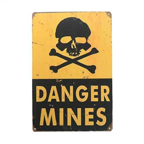 WallAdorn Danger Mines - Cartel de Hierro para Halloween, decoración de Pared Vintage para cafetería, Bar, Pub, hogar, 8 x 12