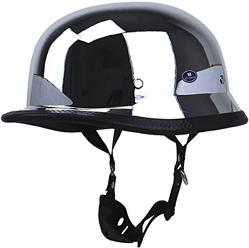 FANGJIA-Helmet Casco de Motocicleta Aprobado Dot, Estilo Alemán, Casco de Cara Abierta Vintage con Gafas, Plateado Espejo para Cascos de Moto Chopper Scooter Crash Retro Ciclomotor
