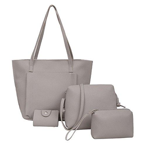 Damen 4 in 1 Handtasche Set Geldbeutel Litschi-Muster Handytasche mit Quaste Rucksack PU Leder Schultertasche Umhängetasche Brieftasche
