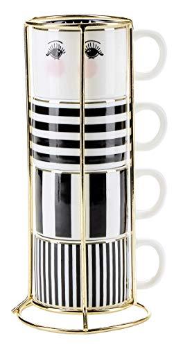 Miss Etoile 4 Espressotassen Stapeltassen für Espresso Schwarz Weiß mit Ständer Espresso-Tassen Mokkatassen Mokka-Tassen 55ml Knochenporzellan Kaffeetassen Klein Kaffee-Tassen Kaffeebecher