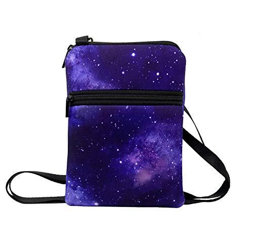 KOSTOO - Borsa a tracolla per iPhone X/XR/8/8 Plus/7/7 Plus e Samsung, piccola borsa a portafoglio da donna, Bianco (Cielo viola.), Small