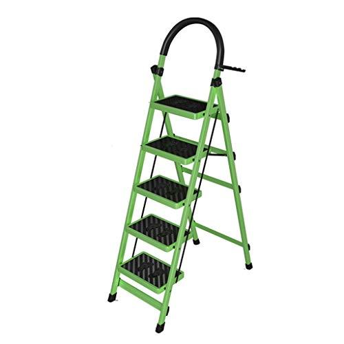 Meerdere scènes telescoopladder, binnenladder met vijf treden, uitklapbare ladder van metaal met vier traps magazzino voor hotel draagbare ladder ChenB 43 * 87 * 164CM Groen