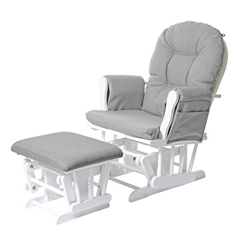 Mendler Relaxsessel HWC-C76, Schaukelstuhl Sessel Schwingstuhl mit Hocker ~ Stoff/Textil, hellgrau, Gestell weiß
