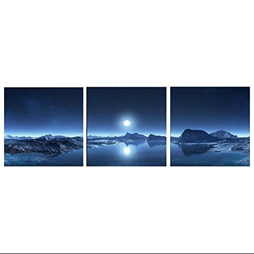 YABINGA Lienzo Pintura Montaña Lago Luna Naturaleza Paisaje Arte de la Pared Imágenes Imprimir Cartel Abstracto Decoración Moderna para el hogar (70x70cm) × 3pcs Sin Marco