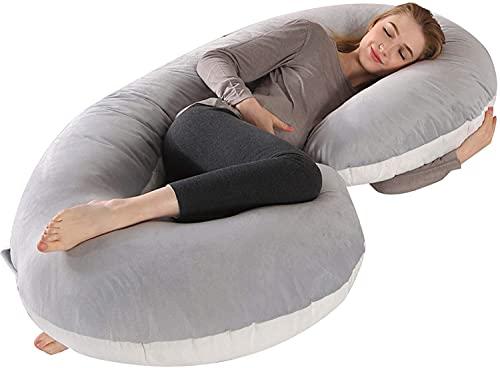 GXFJKHGHHG Almohada Embarazada Dormir Sleep Confort Almohada Almohada de Doble cuña para Maternidad, Almohada para Dormir Lateral para Vientre, Cintura, Respaldo, Funda de Almohada Desmontable y extr