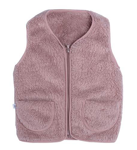 Happy Cherry Baby Winter Weste aus Fleece Kleinkinder mit Reißverschluss Verdickte Steppweste Atmungsaktiv Waistcoat Warm Vest Rosa - Größe 90cm