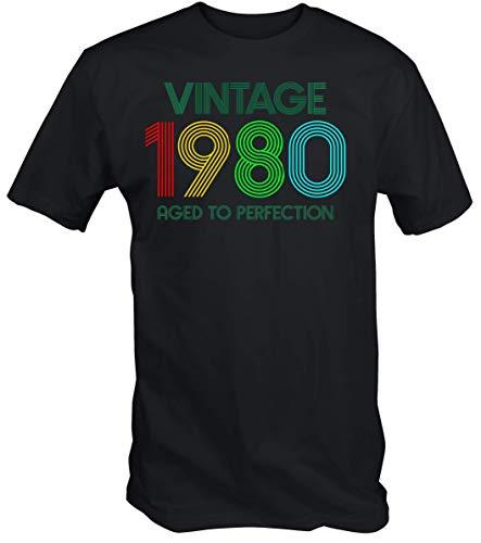 6TN Uomo Maglietta Vintage 1980 alla Perfezione (L, Nero)