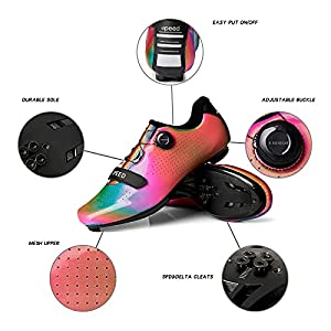 Women's Road Bike Cycling Shoes Indoor Peloton Shoes - Compatible with SPD and Delta Cleats,Bicycle Shoe for Women Rainbow Size 8