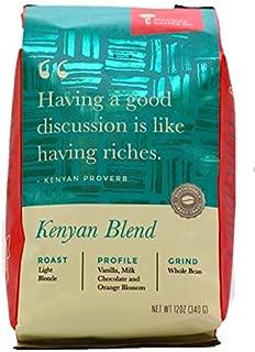 Kenya Blend Whole Bean Arabica Coffee, Light Blonde Roast, Premium Gourmet Coffee (12oz vented bag)