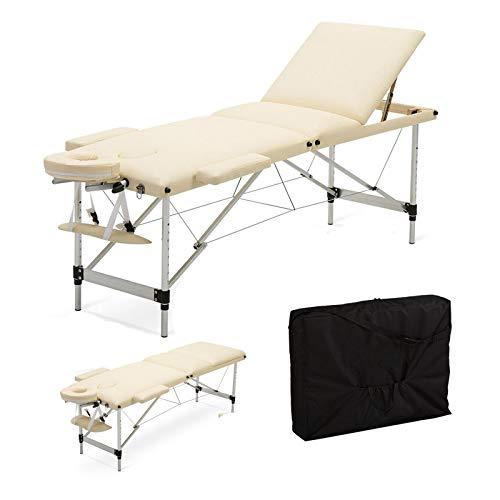 Mobile Massageliege Massagetisch Klappbar Massagebett Massagebank mit 3 Zonen höhenverstellbaren Aluminium-Füßen Kosmetik Bank (bis 230kg belastbar) - Beige