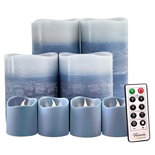 Blue Decorative Flameless Candles Remote Controlled Set of 8, Furora LIGHTING LED Pillar Candles and Votive Candles Battery Operated, Marble Decor Electric Candle Gift Set, Blue Candles Accessories
