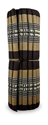 livasia Kapok Liegematte der Marke Asia Wohnstudio, 200cm x 110cm x 4,5cm; Rollmatte BZW. Yogamatte, Thaimatte, Thaikissen als asiatische Rollmatratze (braun/Elefanten)