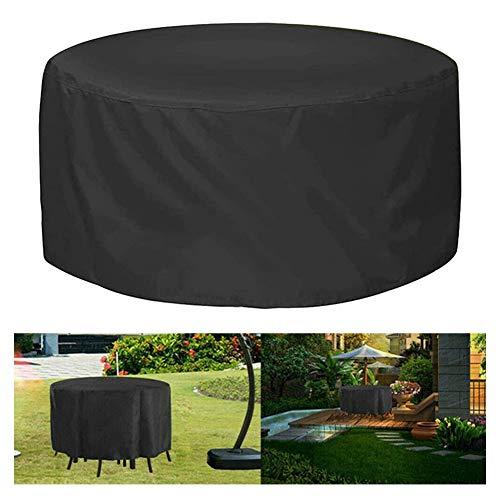 ZFHNY Cubierta para Muebles de Patio Redonda, Impermeable, Anti-UV, Cubierta para Silla de Mesa al Aire Libre, Cubierta de Lluvia para Silla de Mesa de jardín, Cubierta Grande Resistente(Negro)