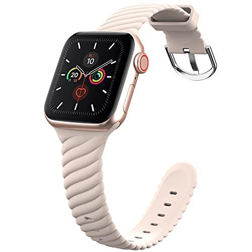 DGDD Relojes con Correa 38/40mm Mujer - Reloj Inteligente Hombre, Correa de Repuesto Reloj, Correa de Acero Inoxidable, Compatible con Apple Watch 123456 se Universal,Beige 38/40mm