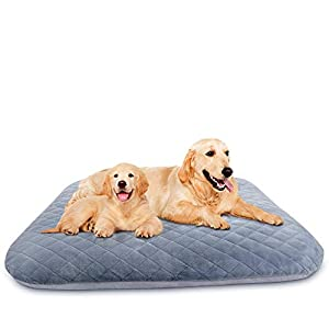 Hero Dog Large Dog Bed Orthopedic Pet Beds with Removable Cover 40/46in Soft Crate Pad Mat Washable Anti Slip Dog Sleeping Mattress for Jumbo Medium Small Pets, Blue Grey XL