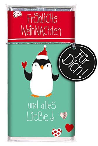 STEINBECK Schokolade Weihnachten STEINBECK Vollmilch 100g Schokoladentafel Fröhliche Weihnachten und alles Liebe Geschenk Pinguin Advent Adventskalender Nikolaus süß Mitgebsel