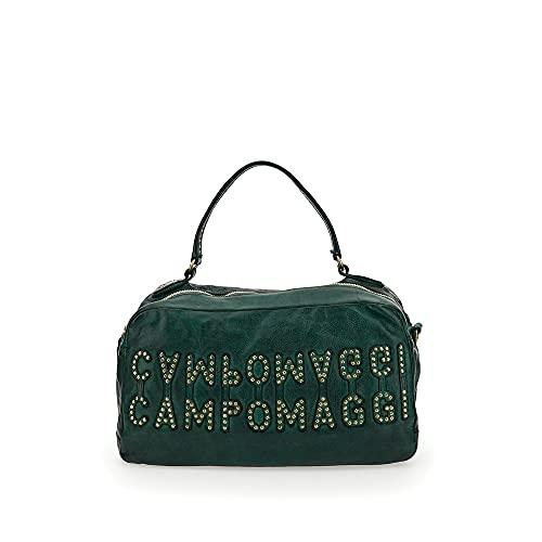 Campomaggi Bolsa de bolos con bolsillos C022210ND X1786, diseño de cuadros, verde, 39X17X24