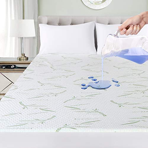 Utopia Bedding Premium Bamboo Mattress Protector 100% Waterproof, Mattress Cover, Breathable, Fitted Style All Around Elastic (Single)