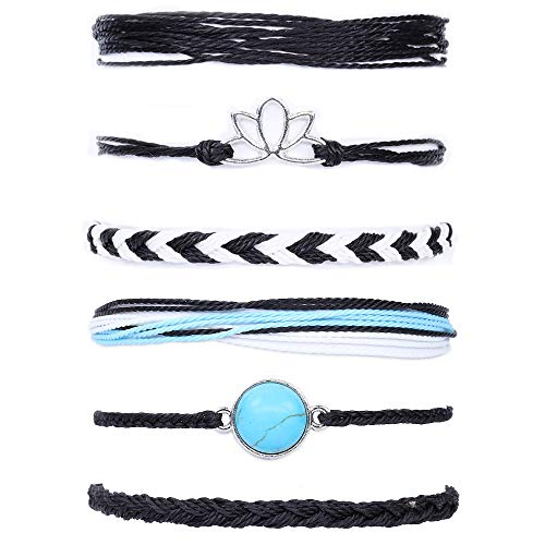 SOFTONES Boho Rope Ankle Bracelets for Women Waterproof Adjustable Braided Anklets for Teen Girls - Turtle Wave Beads Infinite Starfish Boat Anchor