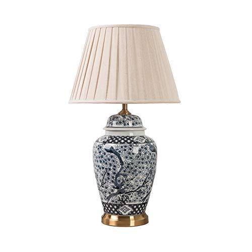 Wenhui Klassische Tischlampe Keramik-Blaue und weiße Rosen-Rebe Temple Jar weißer Bell-Schatten for Wohnzimmer Familien
