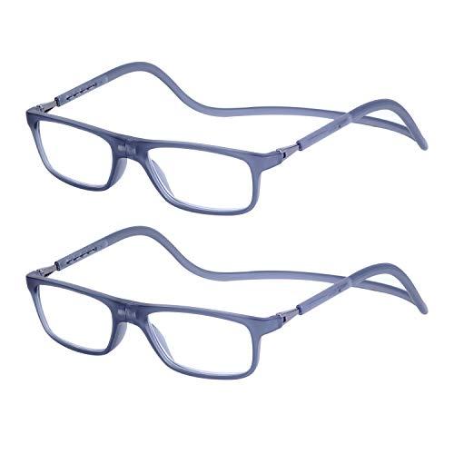 2-Pack Gafas de Lectura Magnéticas Plegables para Hombre y Mujer +2.0 (55-59 años) Presbicia Vista Montura Regulable Colgar del Cuello y Cierre con Imán, Transparente Gris