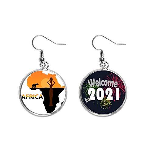 Pendientes con diseño de elefante de la sabana de África Mapa de la sabana 2021 bendición