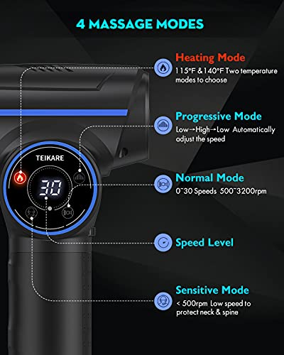 Massage Gun Deep Tissue for Athletes TEIKARE, Percussion Muscle Massage Gun with Heating Mode, Handheld Electric Massager with 30 Speed & 8 Heads, Neck Back Shoulder Leg Muscle Pain Relief