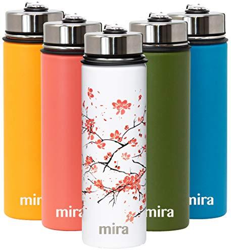 Botella de agua de acero inoxidable con aislamiento al vacío para mantener el agua fría durante 24 horas, caliente durante 12 horas, botella de metal sin BPA., 22 oz (650 ml, 0.69 qt), Cherry Blossom